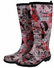 FUNKY COMIC KAMIK GUMBOOTS Wellies Ladies Gum Boots Rainboots Size 7 8 9 10 New