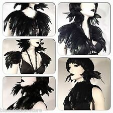 BLACK FEATHER CAPE COLLAR GOTHIC CROW RAVEN STEAMPUNK WHITBY VAMPIRE COSTUME