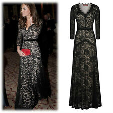 Women Sexy Black Lace Bridesmaids Formal Cocktail Formal Wedding Evening Dresses