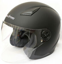 NEW Matt Black S-Line Motorbike Motorcycle Biker Open Face Helmet + freebies