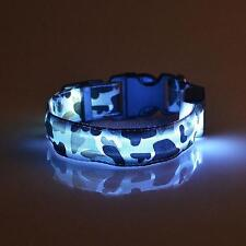 Safety Pets Dogs LED Collar Night Lighted up Nylon LED Collar Camouflage Pattern