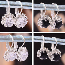 Womens Swarovski Crystal Silver Plated Earring Dangle White/Black Jewelry Party