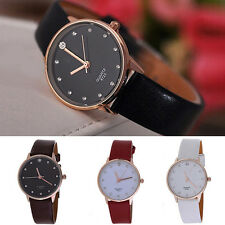 Women Cool Fashion Leather Band Crystal Imitation Diamond Quartz Wrist Watch