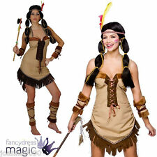 LADIES NATIVE CHEROKEE INDIAN PRINCESS POCAHONTAS TIGERLILY FANCY DRESS COSTUME