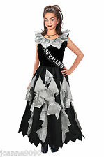 GIRLS HORROR GHOST ZOMBIE PROM QUEEN MISS HALLOWEEN FANCY DRESS COSTUME AND SASH