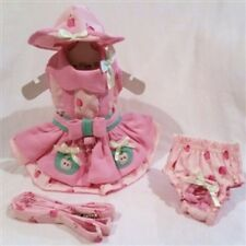 Apple Picking Dog Dress 4 Pc Set with Hat, Panties, & Leash XS, S, M, L