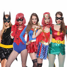 Sexy Ladies Super Heroes Wonder Woman Spider Fancy Dress Outfit Comic Costumes