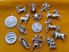 HH VINTAGE STERLING SILVER CHARMS ZODIAC LEO ARIES LIBRA CANCER TAURUS PISCES