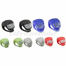 2 Front Rear Bike Bicycle Cycling LED Frog Flash Light Warning Lamp GEL Silicone