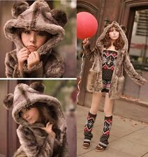 Glam Womens Winter Fashion Lovely Bear Hooded Fluffy Faux Fur Coat Overcoat S-XL