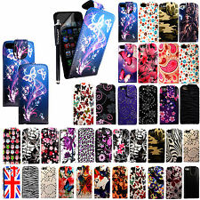 For Apple Iphone 5 5S 5G Printed Leather Magnetic Flip Case Cover+Stylus+Guard