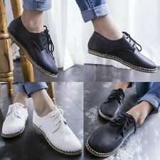 Womens Comfort Lace Up Espadrilles Round Toe Faux Leather Loafers Flats Shoes
