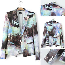 New Europe casual fashion landscape printing a buckle Slim suits blazer jacket