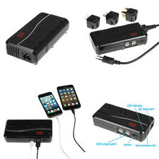 World Travel Charger Power Voltage Converter 220V to 110V w/ 3-AC & 4-USB Outlet