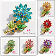 GP Gifts SunFlower Hot Sale Mix Color Rhinestone Crystal Brooch Pins