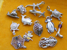 HH VINTAGE STERLING SILVER CHARM VARIOUS ANIMAL CHARMS - REPTILES, INSECTS, FISH