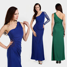 Elegant Beaded One Shoulder Evening Sexy Fitted Sheath Maxi Long Dress Cocktail