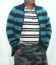 MENS DESIGNER ZIP UP FRONT STRIPED MED KNIT LIGHT WEIGHT CARDIGAN S,M,L,XL,XXL