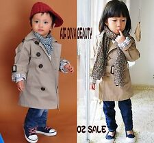 Girls Children Kids Double breasted Autumn Fashion Dust Trench Wind Coat Jacket