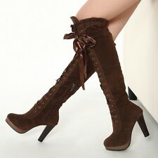 Faux Suede Womens Lace Up Knee High Boots High Block Heel Zipped Platform Size