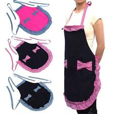 New Cute Red or Black Pocket Style Restaurant Women Bowknot Kitchen Canvas Apron
