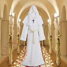Friar Medieval Cowl Hooded Monk Renaissance Priest Robes White Costume Cosplay