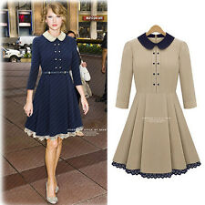 Women Peter Pan Doll Collar Lace Trim 3/4 Sleeve Party Dress Back Zip With Belt