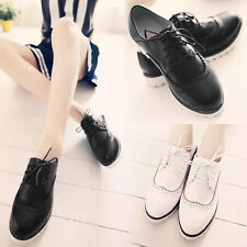 Womens 2014 Lace Up Oxfords Flats Cleated Sole Classic Faux Leather Casual Shoes