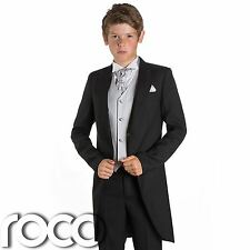 Boys Black & Silver Tail Suit , Wedding Suits, Page Boy Suits, Slim Fit Suits