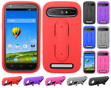 Boost Mobile ZTE Warp Sync N9515 Rubber Hybrid HARD Case Cover Snap Tail Stand