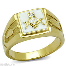 Masonic Mason White Background Gold EP Stainless Steel Mens Ring