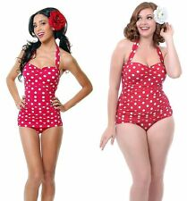 Esther Williams 50s Retro Red Polka Dot One Piece Swimsuit Rockabilly Swimwear