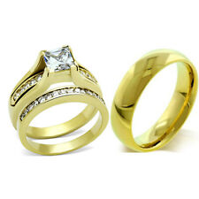 His Hers 3 PCS Princess Cut Gold IP Stainless Steel Wedding Set /Mens Gold Band