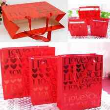 Red Paper Kraft Lolly Bags Wedding Party Gift Name Label Paper Bags With Handle