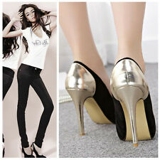 New Women Fashion Black Gold Stilettos Platform Pumps High Heel Shoes Size 3-11