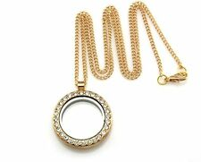 LivingMemory Floating Charm Gold/P Glass Locket Crystal Pendant Necklace 50cm G5
