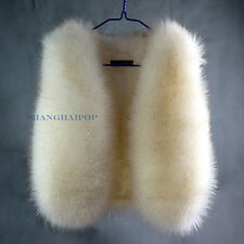 Ladies Faux Fur Gilet Vest Waistcoat Fluffy Jacket Outerwear Winter Black/White