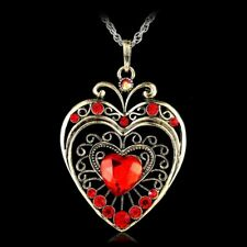 Retro  Crystal Heart Pendant Necklace Sweater Chain Rhinestone Gift New
