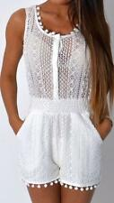 Womens Ladies New White Crotchet Pom-Pom Trim See-through Top Holiday Playsuit