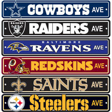 """Brand New All NFL Teams AVE Street Sign 24"""" x 4"""" Styrene Plastic Made in USA"""