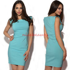 Women Pinup Celeb solid slim party or work sleeveless bodycon mini dress bty963