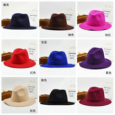 Vintage Womens Mens Wool Felt Plain Trilby Caps Floppy Wide Brim Fedora Top Hats