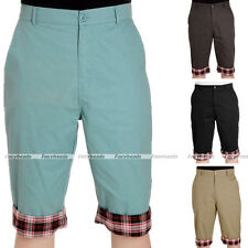 Korean Stylish Casual Mens Short Pants Lattice Flanging Cropped Trousers Colors