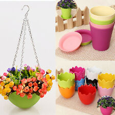 Plastic Hanging Flower Pot Plant Planter Basket Garden Home Office Decoration
