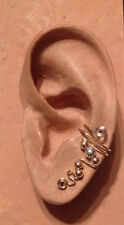 HANDMADE SS OR 14KGF WIRE WRAPPED EAR IVY HALF CUFF WITH PRECIOUS METAL BEADS