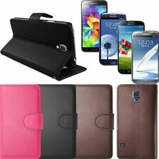100% Genuine PU Leather Smart Wallet Flip Case for Samsung Galaxy Various Models