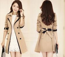Ladies Fashion Trench Coat Mac Beige Button Up Tan Jacket 6 8 10 12