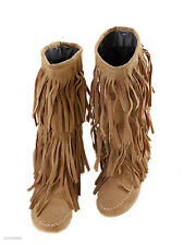HOT Women's Mid-Calf Tassels Boots Flat Heel Shoes Fringes US All Size