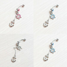 Dangle Crystal Navel Belly Button Barbell Rings Rhinestone Body Piercing