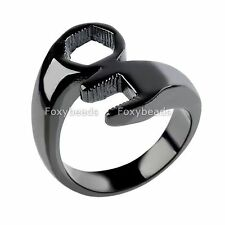 Men Punk Cool Black Harley Biker 316L Stainless Steel Casting Wrench Ring us9-13